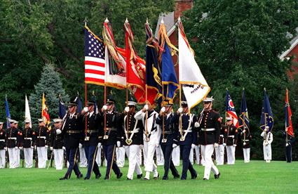 US military march flags